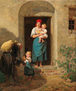 Ferdinand Georg Waldmüller (1793–1865), Das gutmütige Kind (Der Bettler), Öl auf Holz, 66 x 52 cm, Schätzwert € 150.000 – 200.000