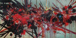 Georges Mathieu, Le temps a laissé son manteau, um 1987, Alkydharz auf Leinwand, 130 x 250 cm, Schätzwert €200.000 – 300.000