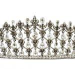 Kokoschnik Diamantdiadem zus. ca. 30 ct Gold 750, Silber ca. 800
