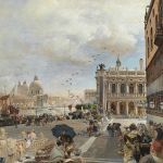 Oswald Achenbach, Blick auf die Piazzetta mit der Biblioteca Marciana - Gemälde 19. Jahrhundert 27. April 2017, € 150.000 - 250.000