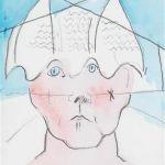 Maria Lassnig, Selbstbildnis, 2000, Beigabe zu der Vorzugsausgabe: Maria Lassnig, Die Feder ist die Schwester des Pinsels, Tagebücher 1943 bis 1997, Hans Ulrich Obrist, DuMont 2000, Bleistift, Aquarell auf Papier, 21 x 16 cm, erzielter Preis € 6.250