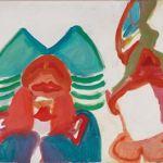 "Maria Lassnig ""Zwei Figuren"", 1962, Öl auf Leinwand, 75 x 100 cm, erzielter Preis € 341.202"