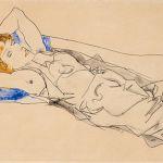 Egon Schiele, Auf einem blauen Polster Liegende mit goldblondem Haar (Wally Neuzig), € 720.000